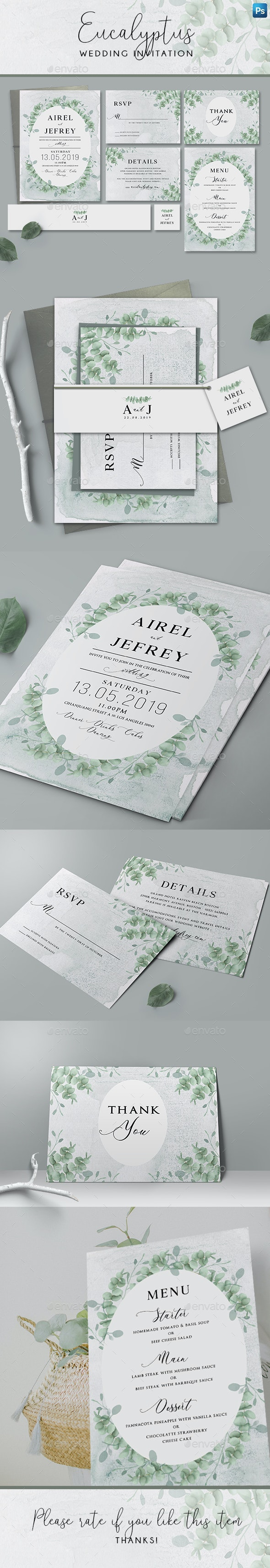 Eucalyptus Wedding Invitation - Wedding Greeting Cards