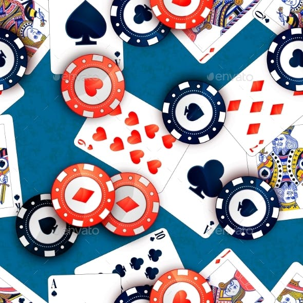 Casino Chips and Poker Cards on Blue Table