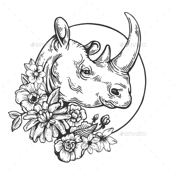 Rhinoceros Animal Engraving Vector - Miscellaneous Vectors