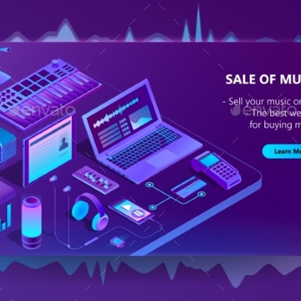 Vector Isometric E-Commerce Site of Music