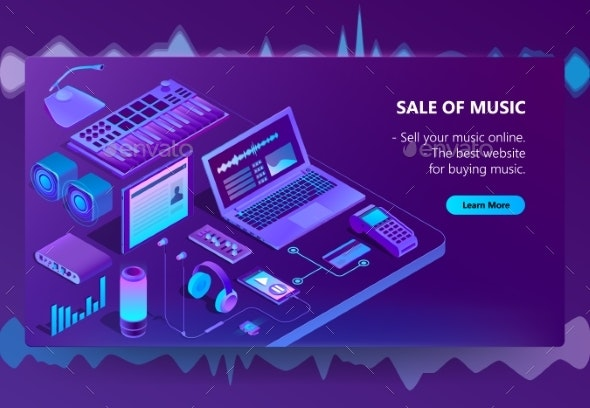 Vector Isometric E-Commerce Site of Music - Computers Technology
