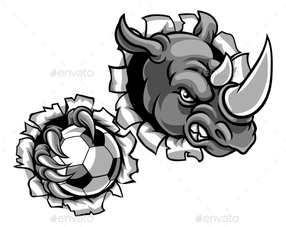 Rhino Holding Soccer Ball Breaking Background - Sports/Activity Conceptual