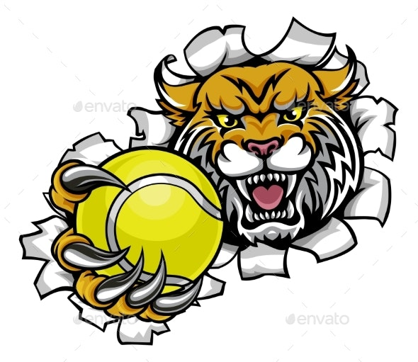 Wildcat Holding Tennis Ball Breaking Background - Sports/Activity Conceptual
