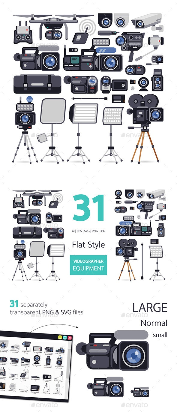 Videographer Equipment in Flat Style - Man-made Objects Objects