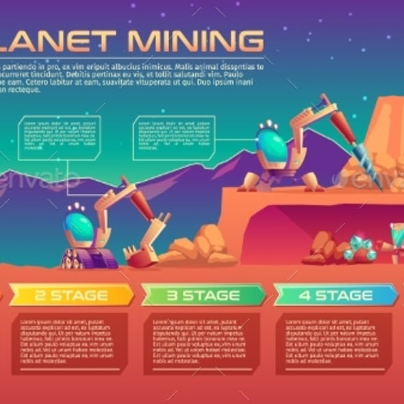 Exoplanet Mining Vector Background with Timeline