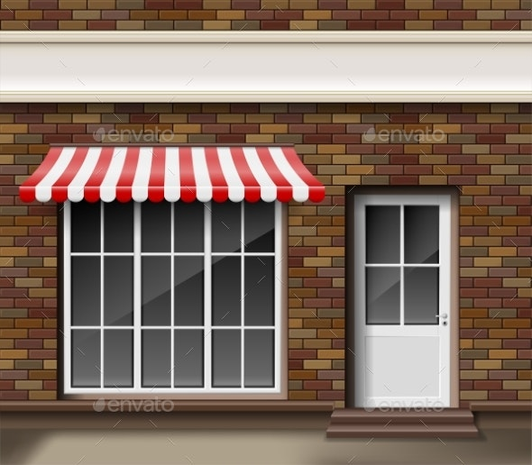 Brick Store or Boutique Front Facade - Buildings Objects