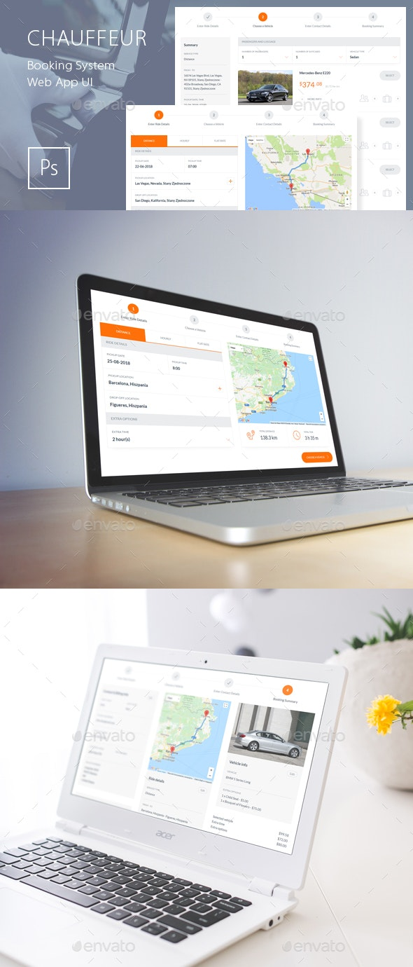 Chauffeur Booking System Web App UI - User Interfaces Web Elements