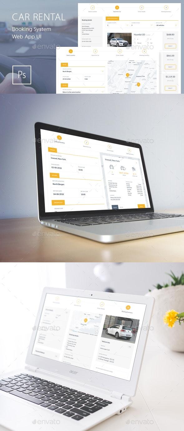 Car Rental Booking System Web App UI - User Interfaces Web Elements