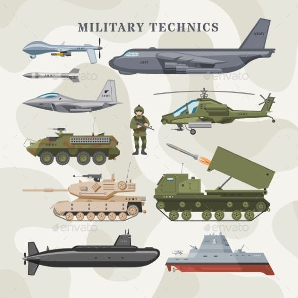 Military Technics Vector Army Transport Plane