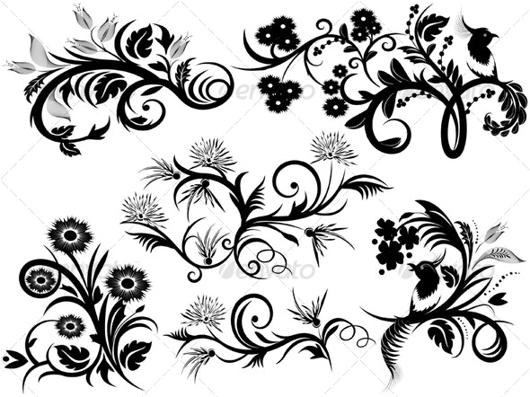 Design Elements-florals - Decorative Vectors
