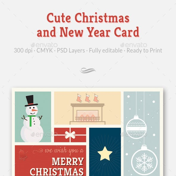 Cute Christmas and New Year Card