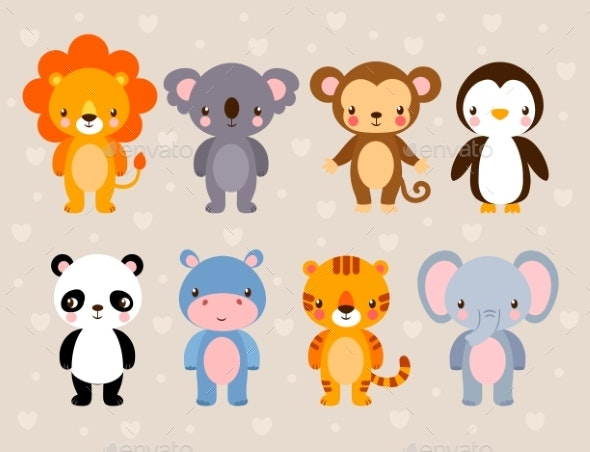 Vector Set with Animals - Animals Characters