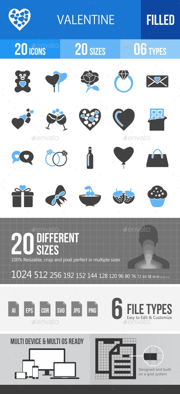 20 Valentine Filled Blue & Black Icons - Icons