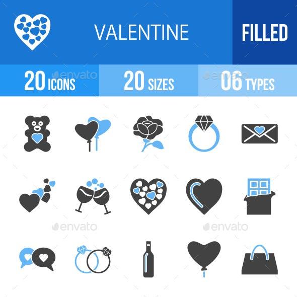 20 Valentine Filled Blue & Black Icons