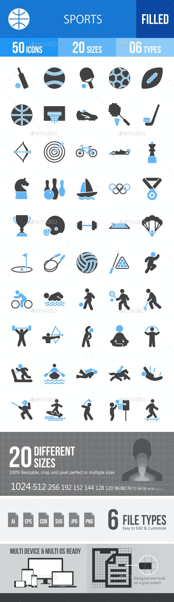 50 Sports Filled Blue & Black Icons - Icons