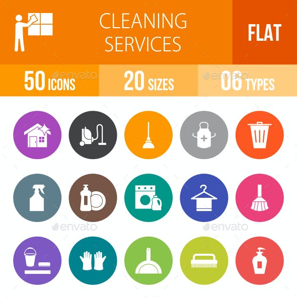 Cleaning Services Flat Round Icons