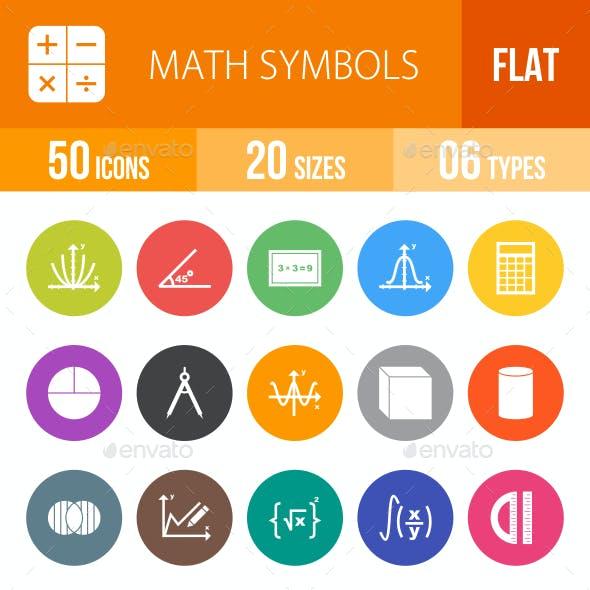 Math Symbols Flat Round Icons