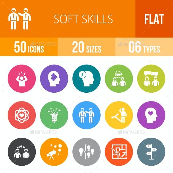 Soft Skills Flat Round Icons