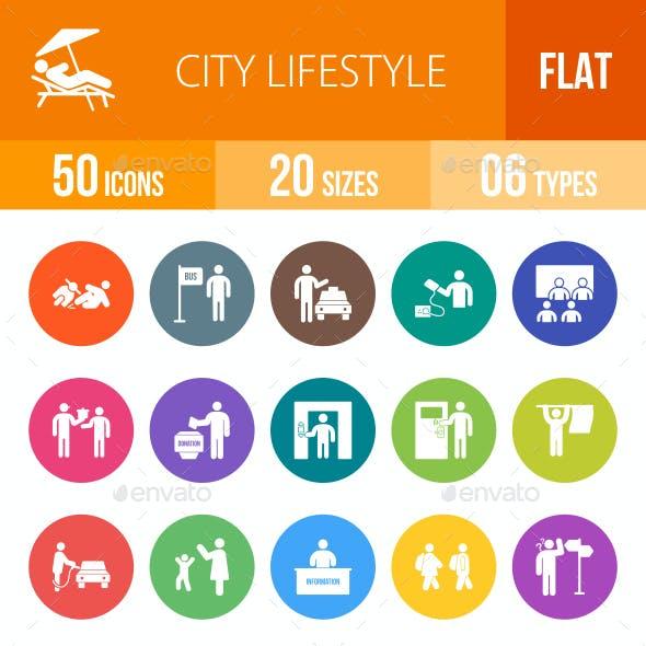 City Lifestyle Flat Round Icons