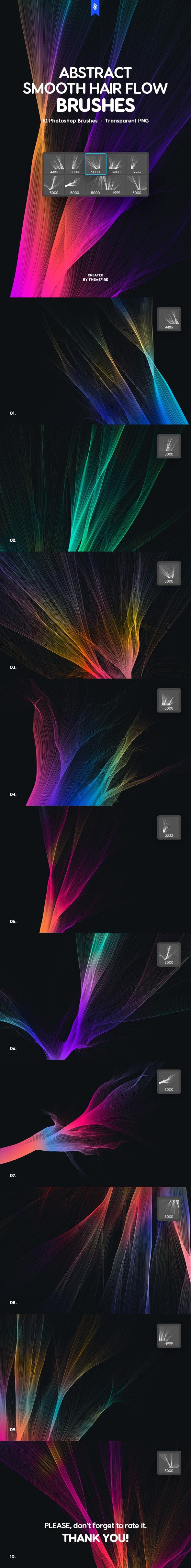 Smooth Hair Flow Photoshop Brushes - Techno / Futuristic Brushes