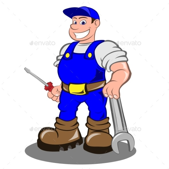 Smiling Mechanic Man - People Characters