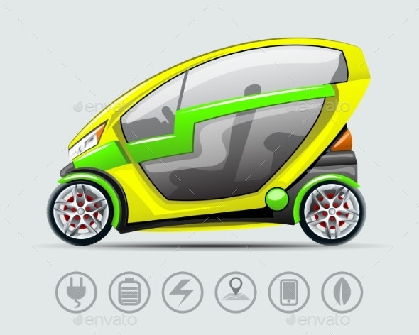 Electric Car with Options Icons - Man-made Objects Objects