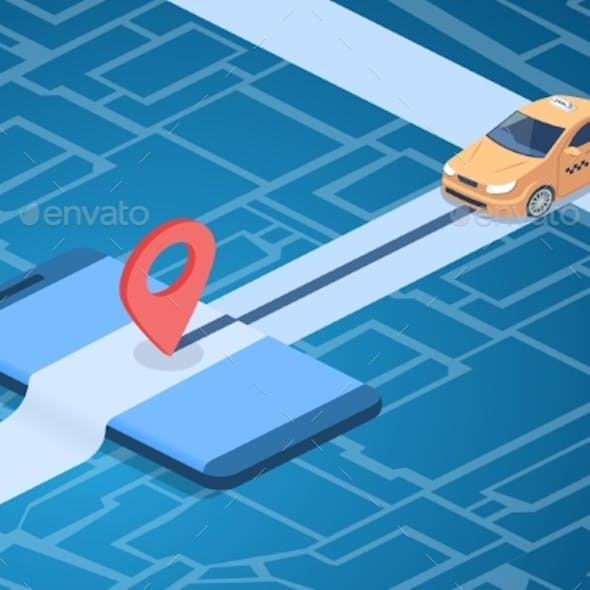 Taxi Online Service Technology Vector Illustration