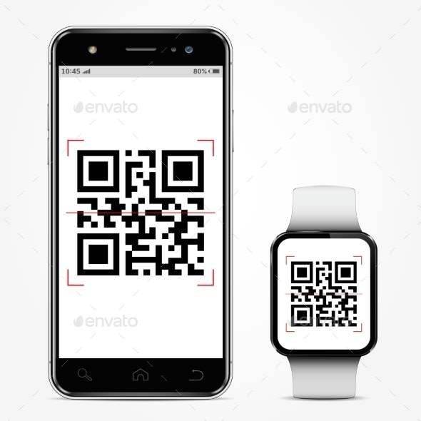 Mobile Phone and Smart Watch with QR-Code - Computers Technology
