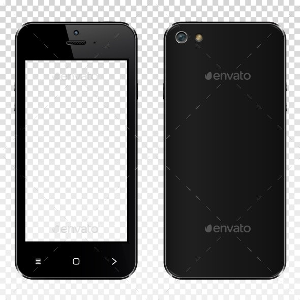 Realistic Black Smartphone with Transparent Screen - Computers Technology