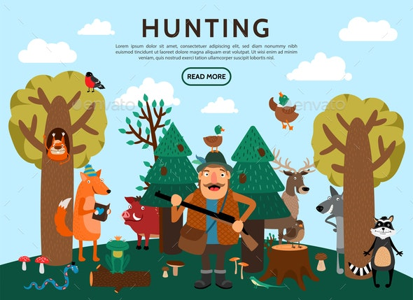 Flat Hunting Concept - Animals Characters
