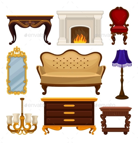 Flat Vector Set of Vintage Furniture - Man-made Objects Objects
