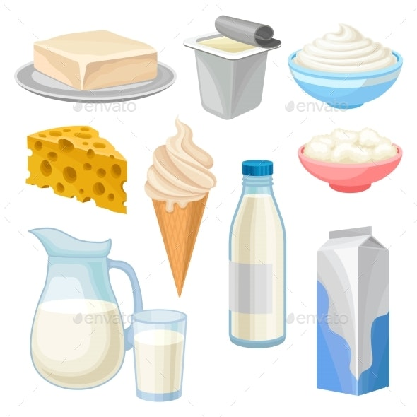 Dairy Products Set - Food Objects