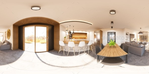 3d Illustration Interior 360 Seamless Panorama - Architecture 3D Renders