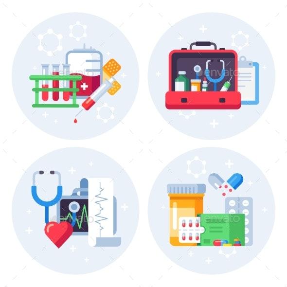 Medicine Pills Flat Background - Health/Medicine Conceptual