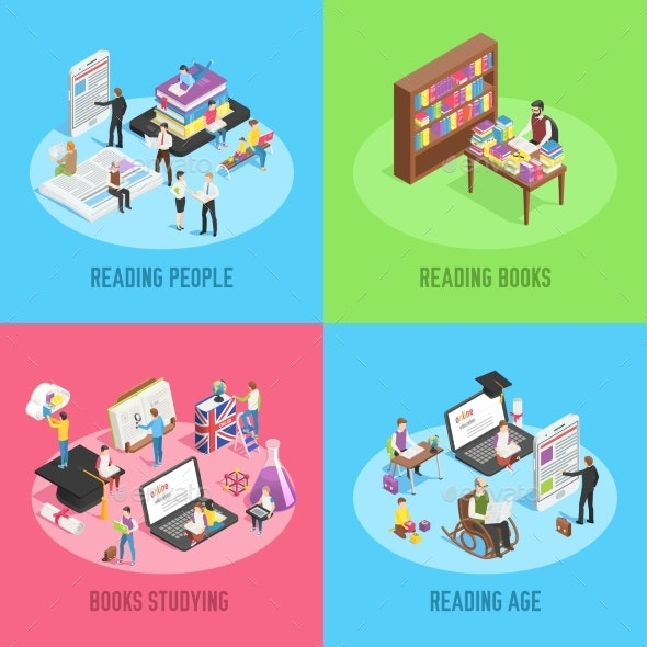 Isometric Books Reading. Educated People, School - Miscellaneous Vectors