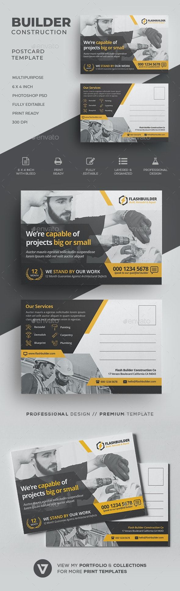 Construction Postcard - Cards & Invites Print Templates