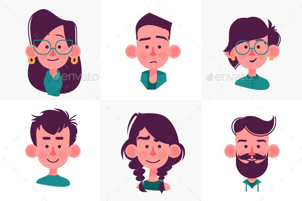 Face People Cartoon Collection - People Characters