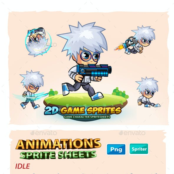 Scientist 2D Game Character Sprites