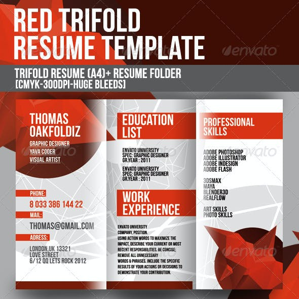Red Trifold Resume Template