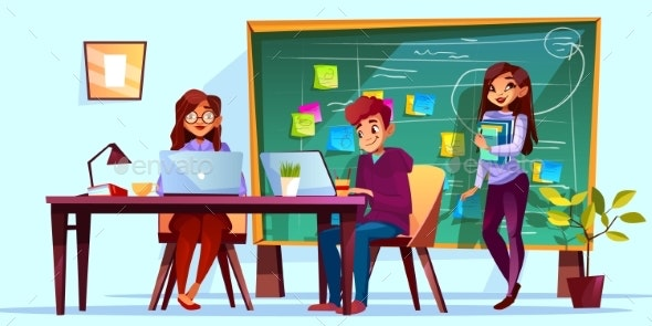 Team Office and Kanban Board Vector Illustration - People Characters