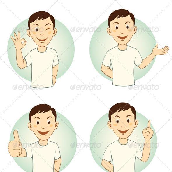 Gesturing Cartoon Man Mascot Set