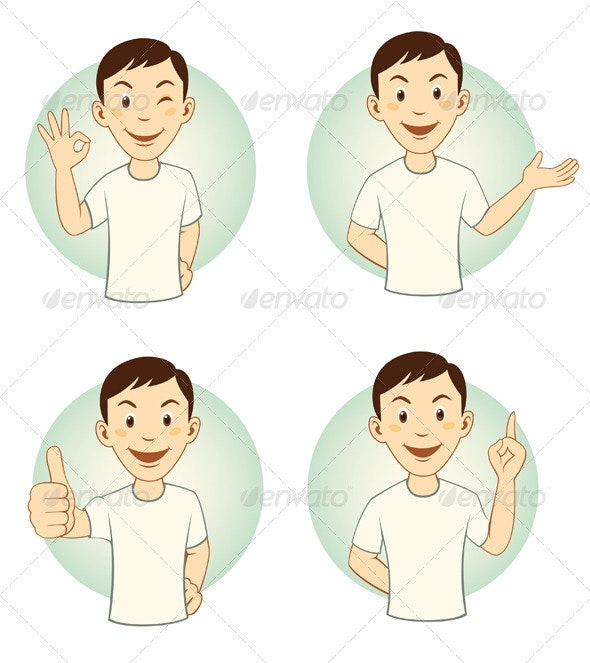Gesturing Cartoon Man Mascot Set - People Characters