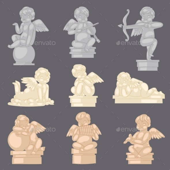 Angel Statue Vector Angelic Cupid Sculpture - Miscellaneous Characters