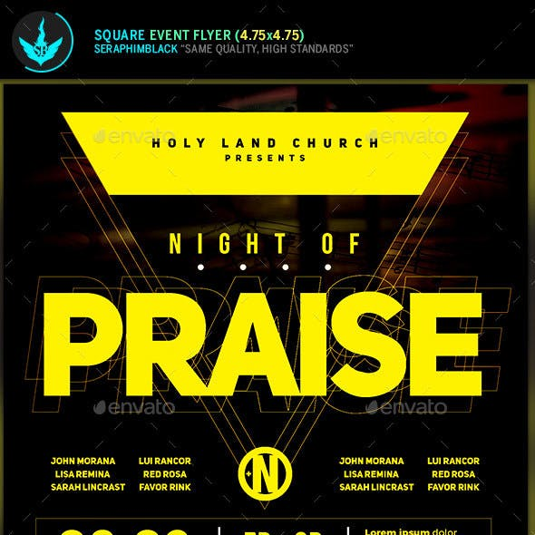 Night of Praise Gospel Concert Square Flyer Template