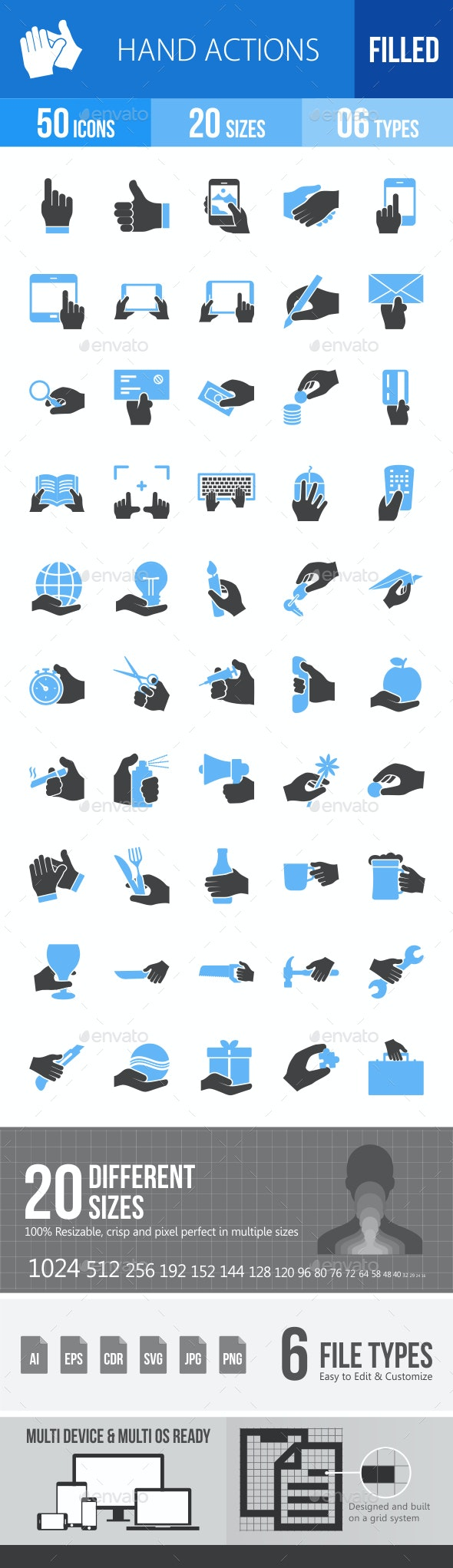 Hand Actions Blue & Black Icons - Icons