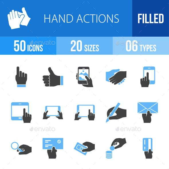 Hand Actions Blue & Black Icons