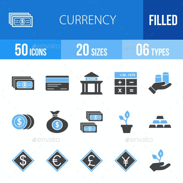 Currency Blue & Black Icons