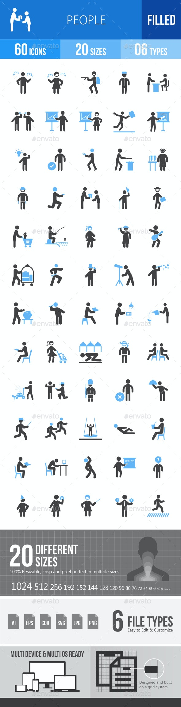 People Blue & Black Icons - Icons