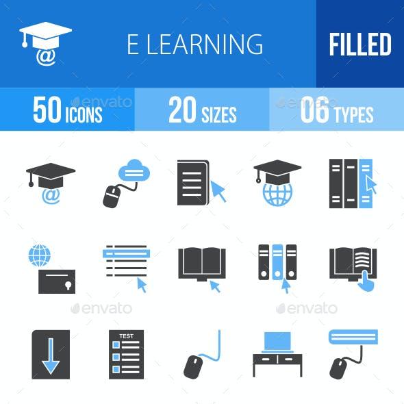 E Learning Blue & Black Icons