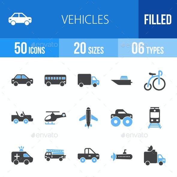 Vehicles Blue & Black Icons